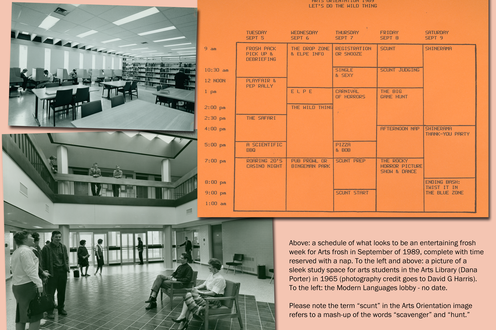 Photographs show the arts library and the Modern Languages lobby. A scan of an orientation schedule. Caption bottom right
