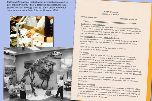 Photos of a student working and people admiring a dinosaur's skeleton. A page detailing a pilot program. Caption upper left
