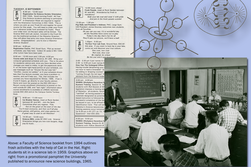 A page from an orientation booklet. Scientific graphics. A photograph of students in a lab. Caption bottom right