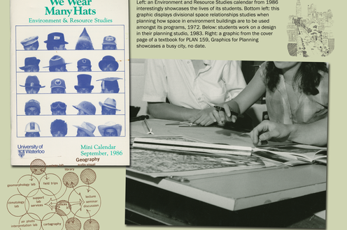 Cover of a student's book, photograph of students working, and graphics of a city and of student movement. Caption upper middle