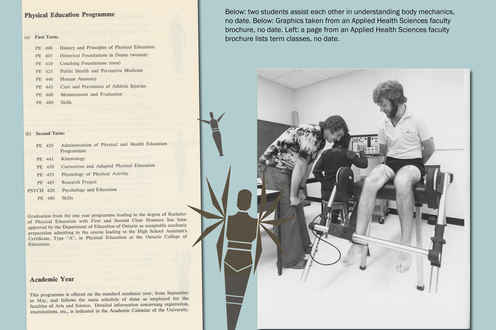 A page from a student's book lists course offerings; a photograph shows people studying the body. Descriptive text upper right.