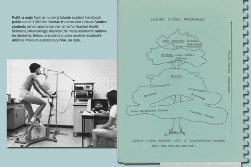 A photograph of students studying the body, a page from a student's book displaying academic options. Text upper left
