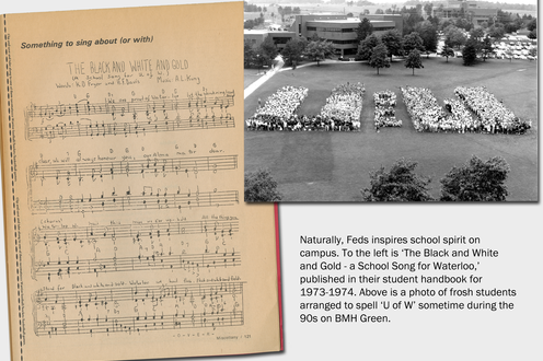 A page from a student's handbook displays music and a photograph shows students arranged to say 'U of W.' Caption bottom right