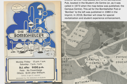 An ad for the Bombshelter Pub and a map of a part of campus. Descriptive text upper right
