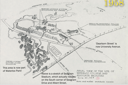 A map of campus in 1958 with captioned text