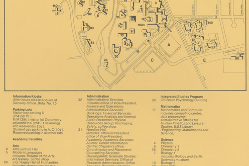 A map of campus in 1975