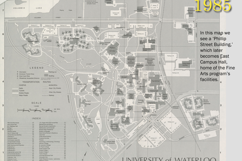 A map of campus in 1985 with captioned text