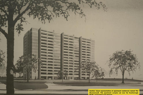 Drawing of the apartment complex in Guildwood Village, the Bournmouth.