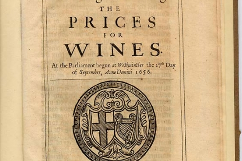 An Act for Limiting and Setling the Prices for Wines: front page.