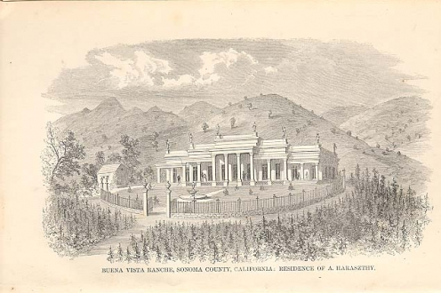 Illustration of residence of Buena Vista Ranche, Sonoma County, California. Residence of A. Haraszthy.