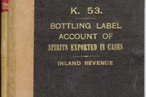 Bottling Label Account of Spirits Exported in Cases: front cover.