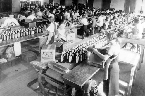 Bottling line with workers.