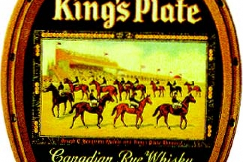 """King's Plate"" label on rye whiskey."