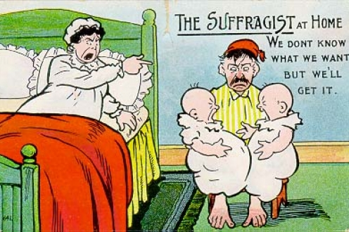 Postcard: The Suffragist at home. We don't know what we want, but we'll get it.