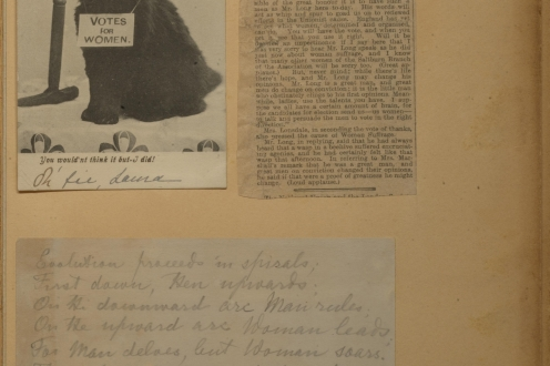 Card, news clipping, and handwritten poem.