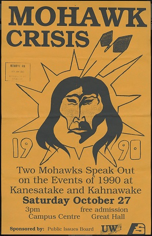 Mohawk Crisis poster with illutration of Mohawk with feathers in hair.