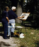 People with easel