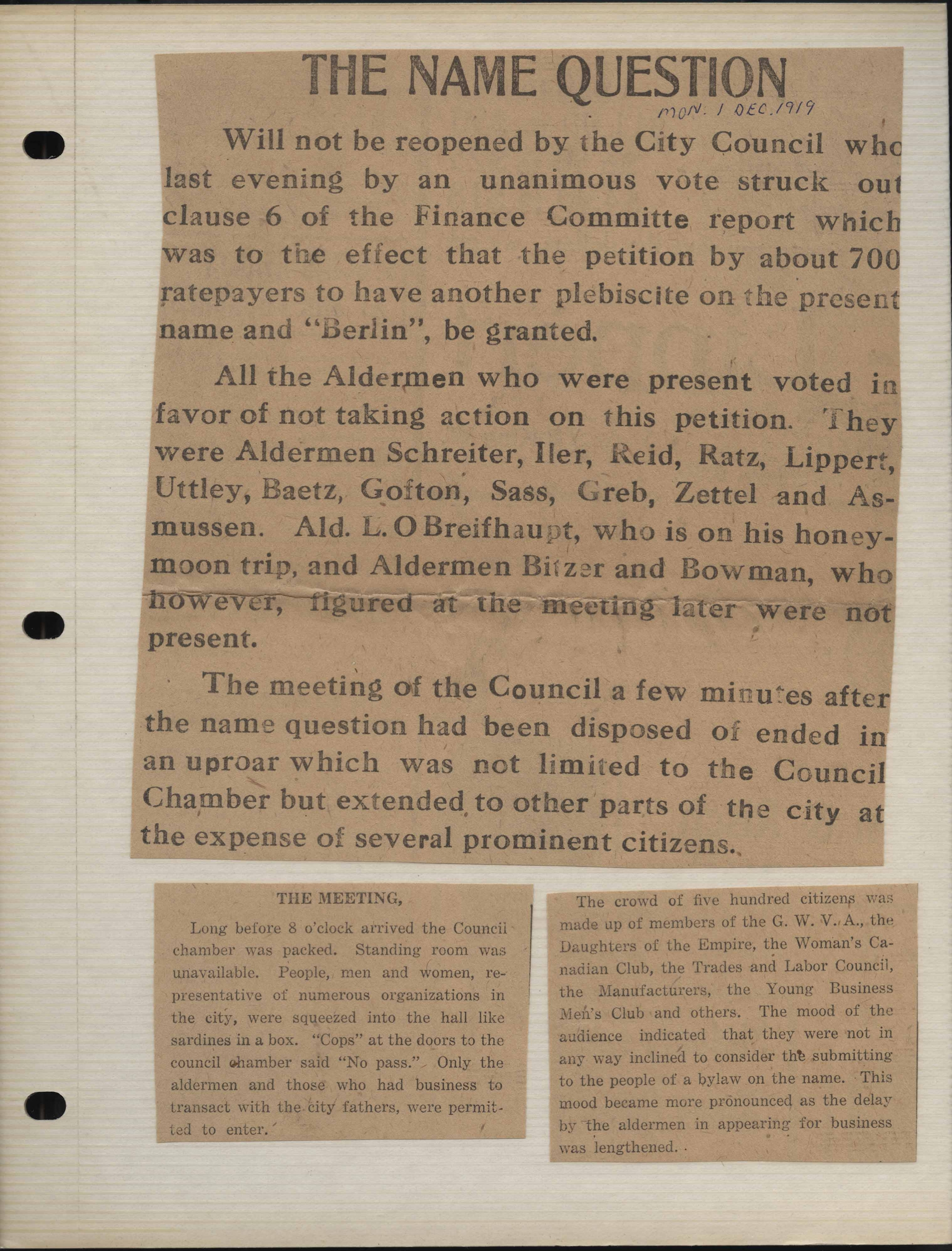 How to scrapbook with newspaper articles -  The Name Question Newspaper Article