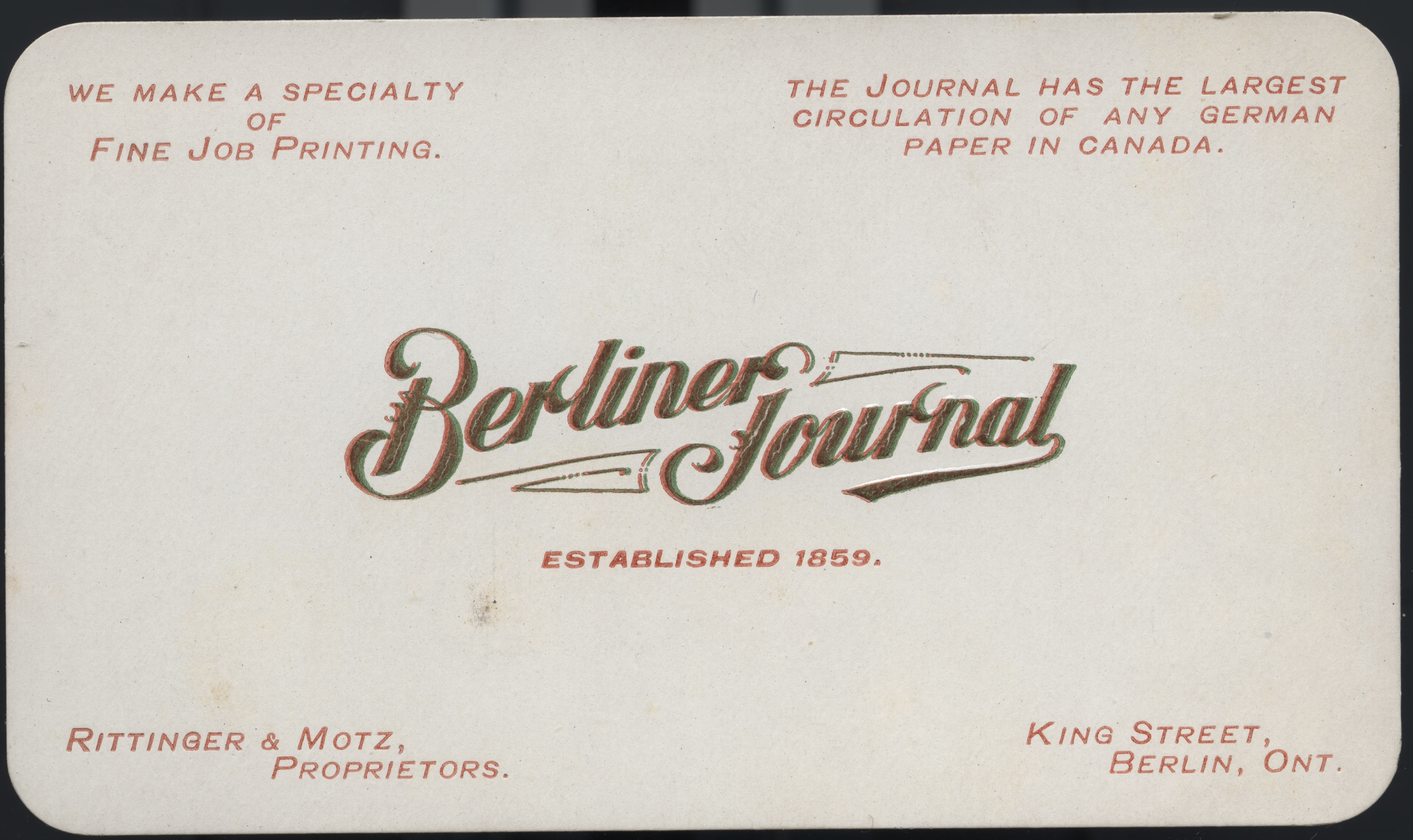 The berliner journal special collections archives university white berliner journal business card with logo reheart Gallery