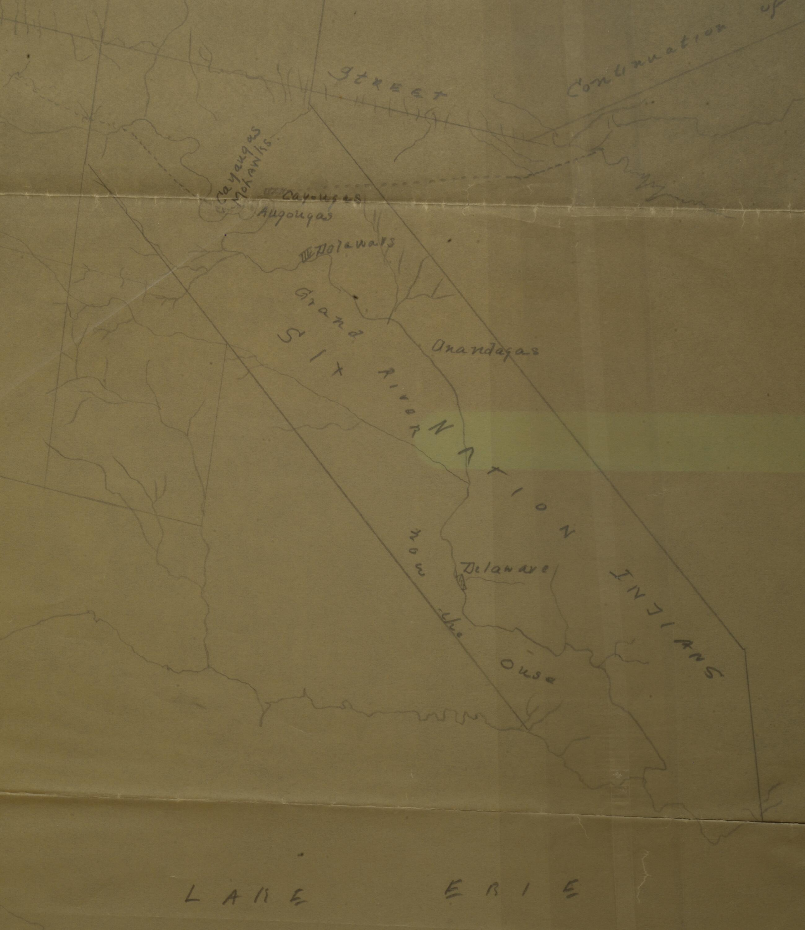 Map of the Grand River showing Indigenous Nations on the Haldimand Tract.