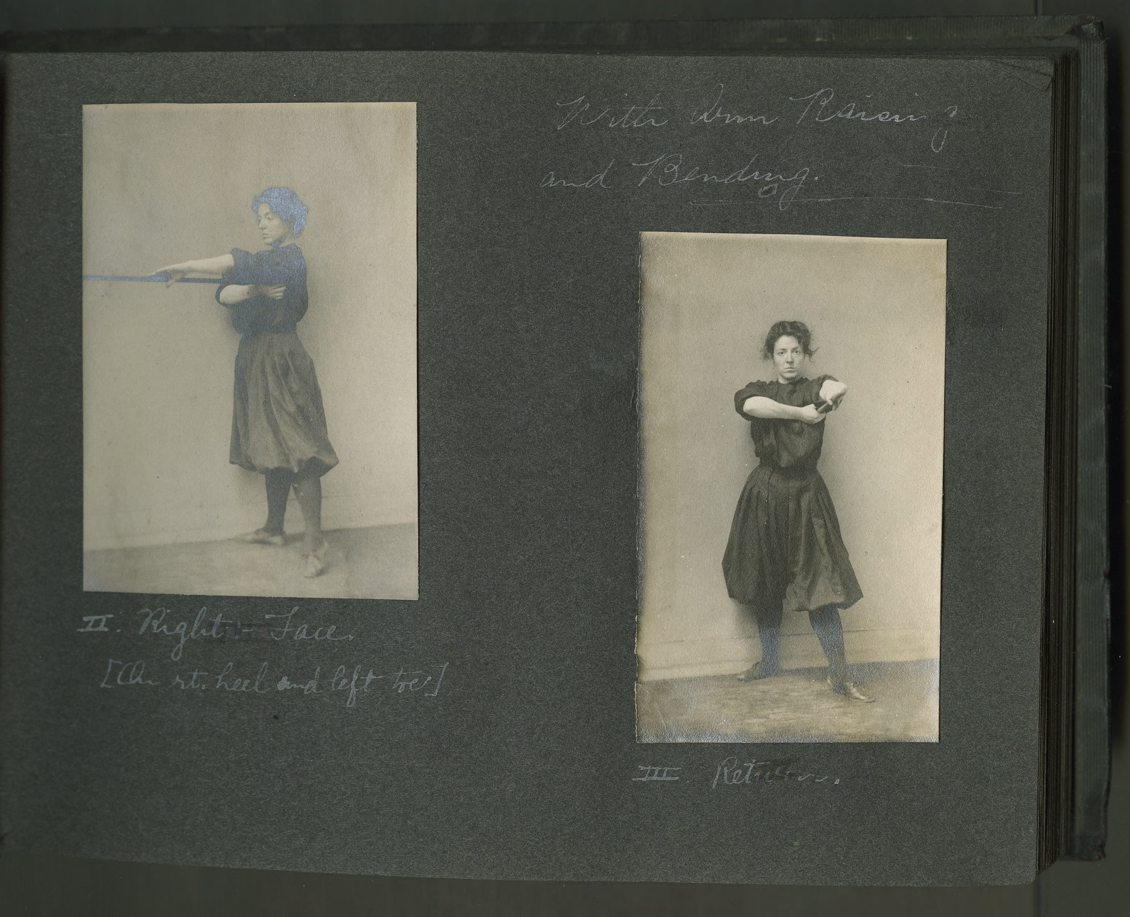 Two photos of a woman holding a wand in front of her.