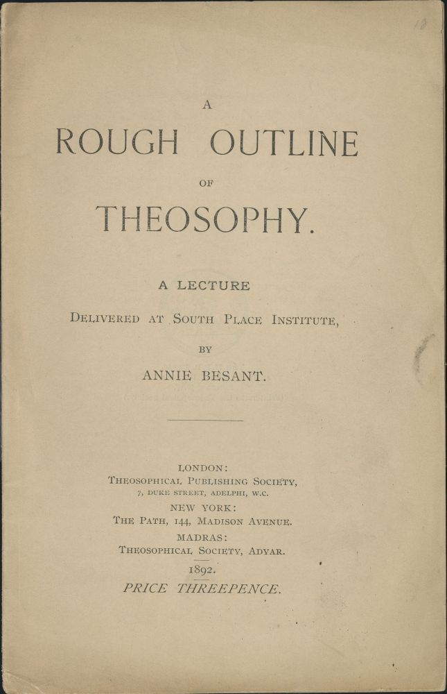 Title page of Rough Outline of Theosophy by Annie Besant