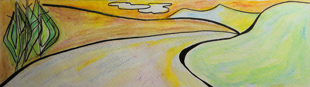 Artwork of a road winding into distance.