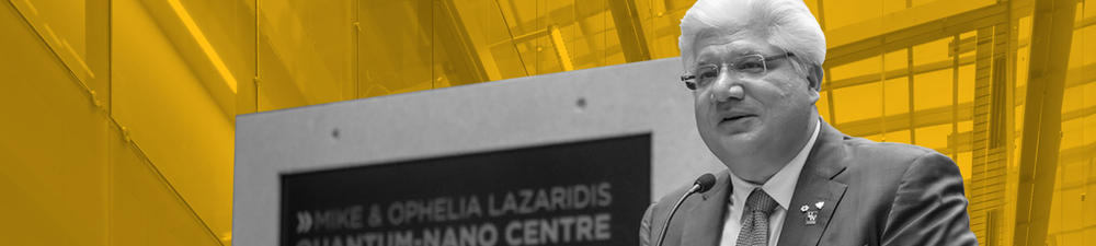 Mike Lazaridis at the grand opening of the Quantum-Nano Centre