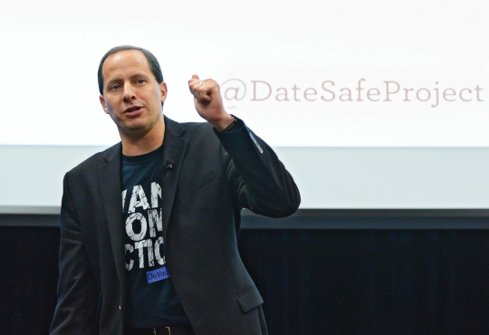 Mike Domitrz on stage at the University of Waterloo