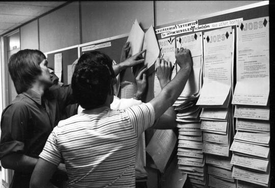 Students checking their grades in 1971