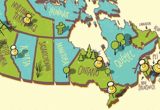 an illustrated map of canada