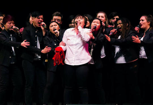 Waterloo A Capella group In Full Colour singing at a competition