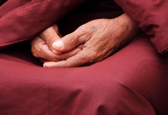 Hands folded in meditation pose