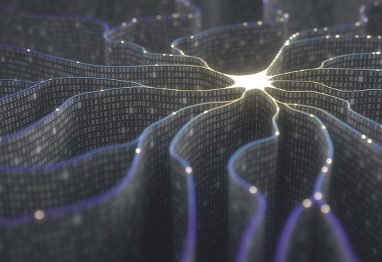 A conceptual image of a neuron made up tentacles of layers of binary code