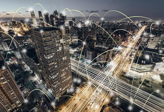 An urban city at night