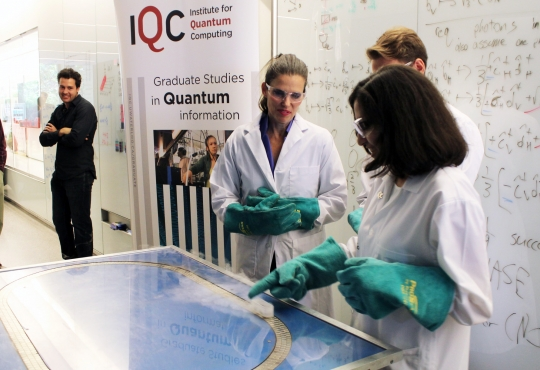 Minister of Science Kirsty Duncan with students for the Institute of Quantum Computing.