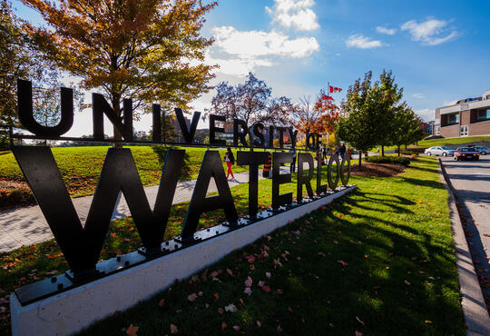 Campus entrance with Waterloo sign
