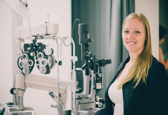 Kristine Dalton in Optometry lab