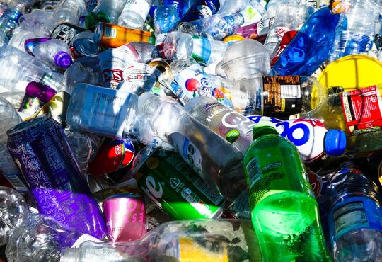Plastic bottles ready to recycle