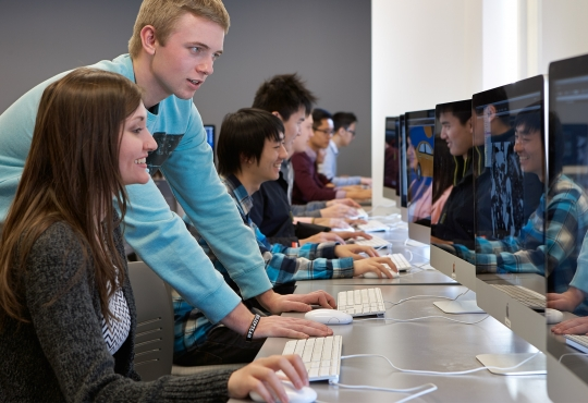 Students working in a computer lab