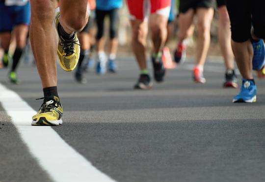 Runners competing in a marathon