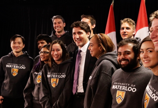 Prime Minister, Justin Trudeau with Waterloo students
