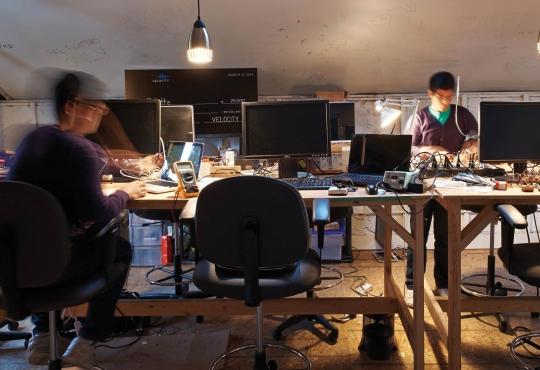 student entrepreneurs working