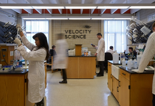 Students working in the new Velocity Science lab