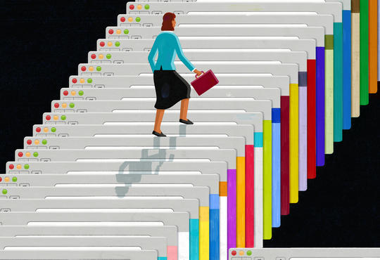 a woman climbing steps that look like computer screens