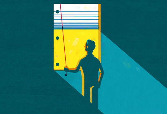 illustration of a person opening blinds that look like notebook paper