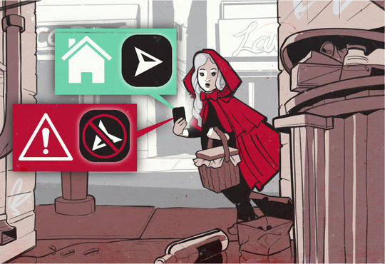 illustration of little red riding hood walking down a urban alley