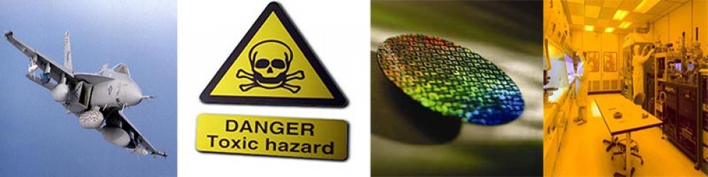 Aircraft, a hazardous materials sign, a wafer and a lithography lab