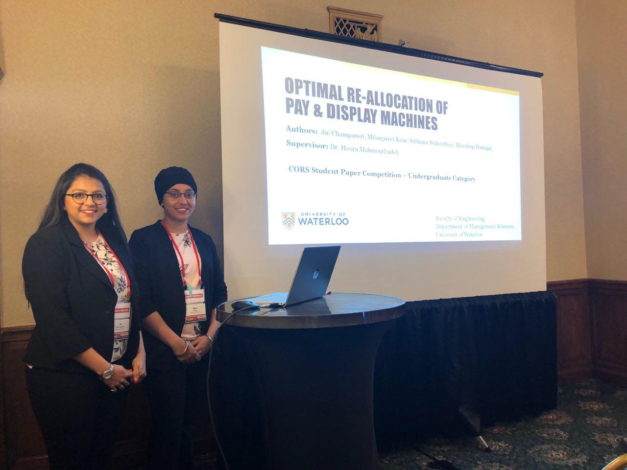 Management Engineering students to Milan Kaur and Jui Champaneri present at CORS conference