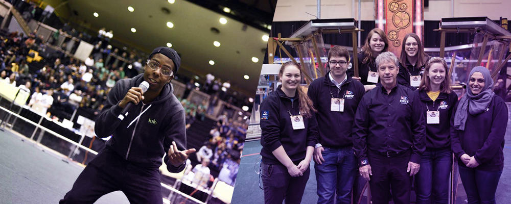 Students competing in FIRST Robotics